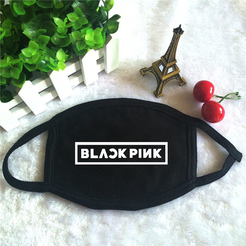 Kpop BLACKPINK Album Logo Print K-pop Fashion Face Masks Unisex Cotton Black Mouth Mask