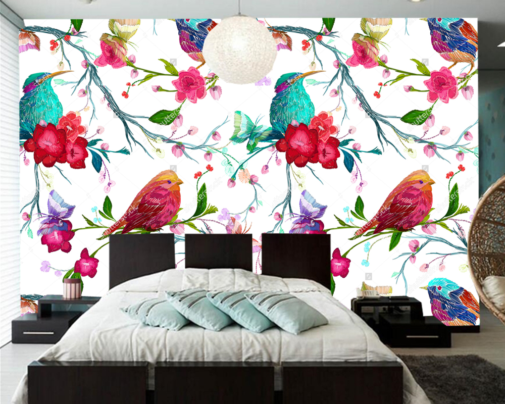 Custom wallpapers home decor,bird,butterfly and flower,3D mural for living room bedroom sofa background wall papel de parede fashion letters and zebra pattern removeable wall stickers for bedroom decor