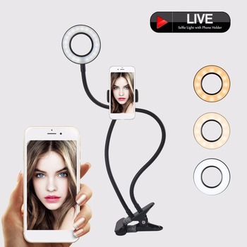 2-in-1 Cell Phone Holder with LED Selfie Ring Light for Live Stream Phone Clip Holder Adjustable Desk Lamp Makeup Light