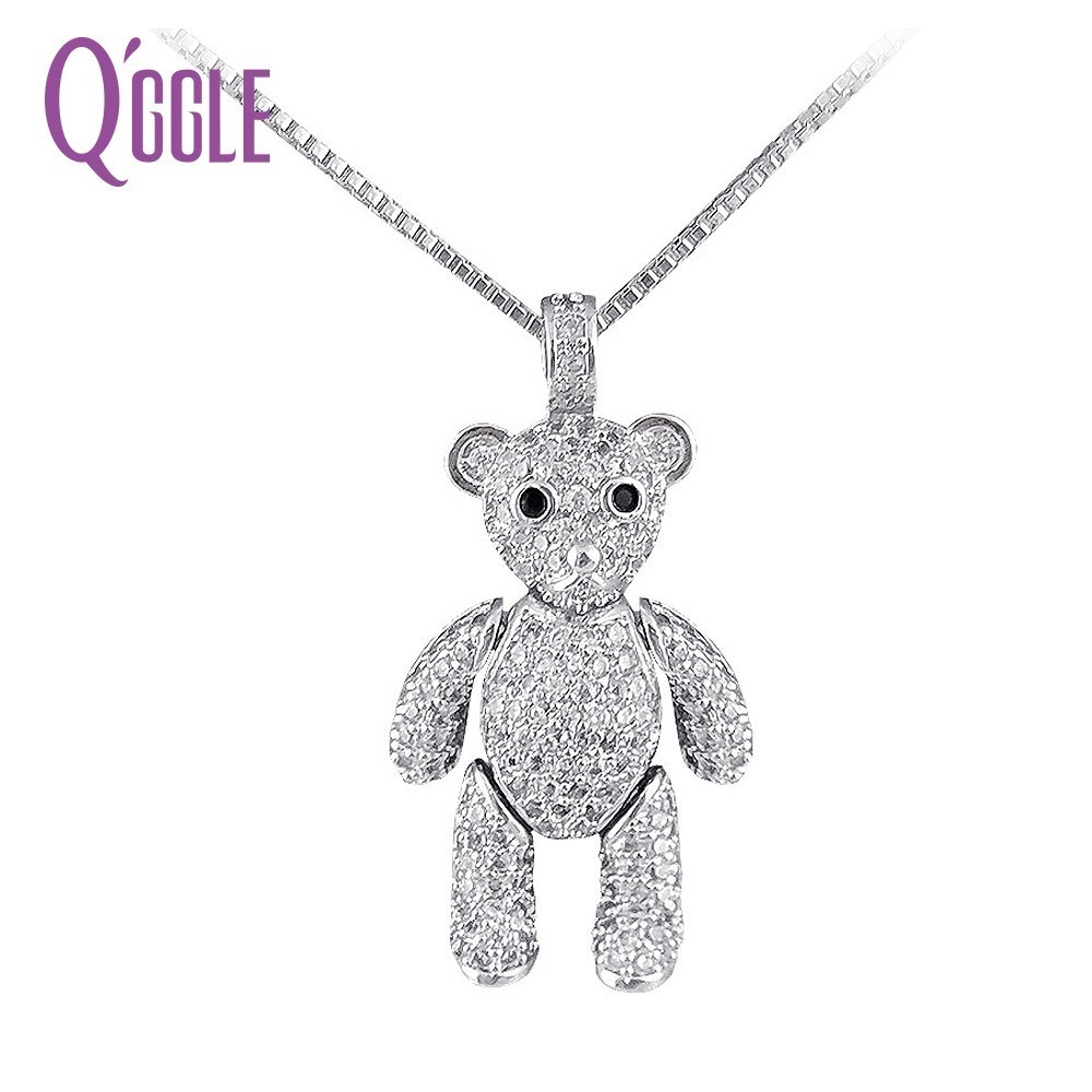 QGGLE Brand Silver Color AAA Zircon Teddy Bear Long Necklaces For Women With Pendant Necklace