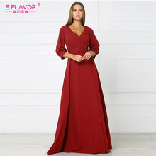 S.FLAVOR red sexy party vestidos 2018 autumn hot sale new three quarter sleeve long dress female V-Neck empire high slit dress(China)