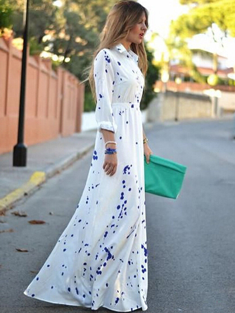 2016 Autumn Women Vestido Dress Long Sleeve Floral Print Chiffon Maxi Dress Elegant Casual Boho Party Dresses Vestidos  floral chiffon dress long sleeve