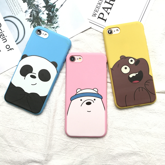pretty nice 4d5fa 9d9ed US $1.6 5% OFF| Cute Cartoon We Bare Bears candy pink soft silicone TPU  case for iphone 5 5s 6 6s 6plus 7 8 plus lovely Animal Panda cover-in  Fitted ...