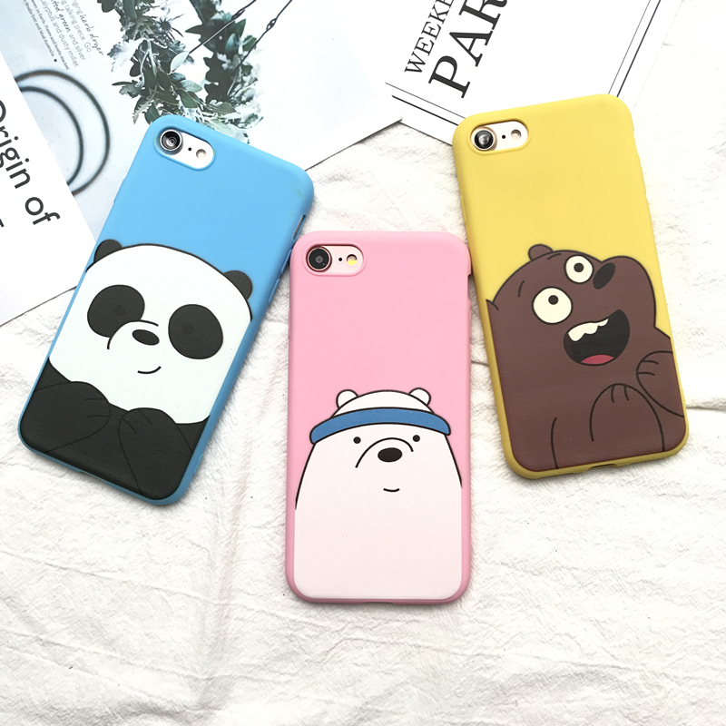 Cute Cartoon We Bare Bears candy pink soft silicone TPU case for iphone 5 5s 6 6s 6plus 7 8 plus lovely Animal Panda cover