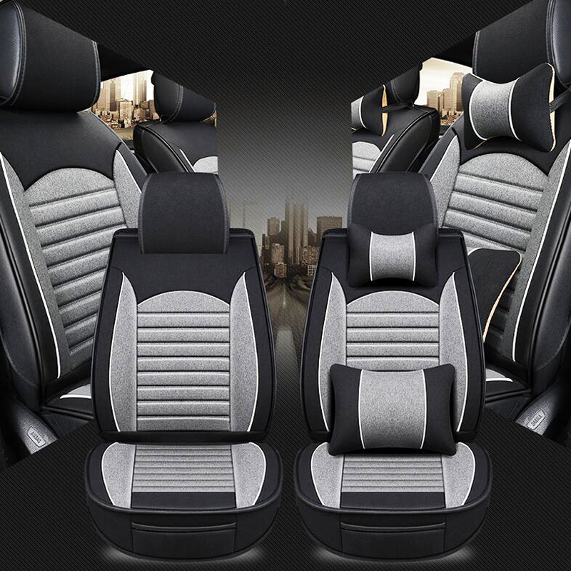 Four season personality new car seat cushion Flax car seat cover Fully encircled leather linen car seat cushion car Seat covers in Automobiles Seat Covers from Automobiles Motorcycles