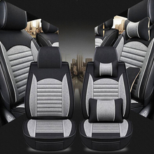 Four season personality new car seat cushion Flax car seat cover Fully encircled leather linen car seat cushion car Seat covers цена
