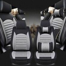 Poduszki na siedzenia samochodowe pokrycie siedzenia samochodu cztery pory roku osobowość nowy len w pełni otoczony skórzana pościel poduszki na siedzenia samochodowe pokrowce na siedzenia samochodowe