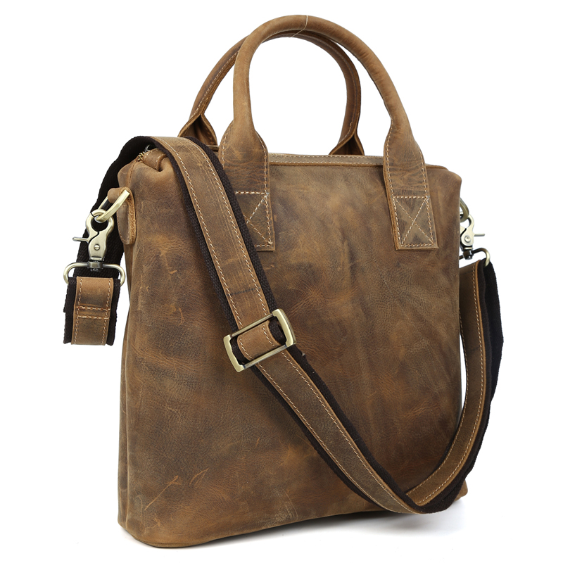 2017 Handmade Crazy Horse Genuine font b Leather b font Briefcase Vintage Wild Style Shoulder Bag