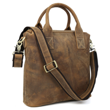 Handmade Crazy Horse Genuine Leather Briefcase Vintage Wild Style Shoulder Bag Durable Men Handbag 1154
