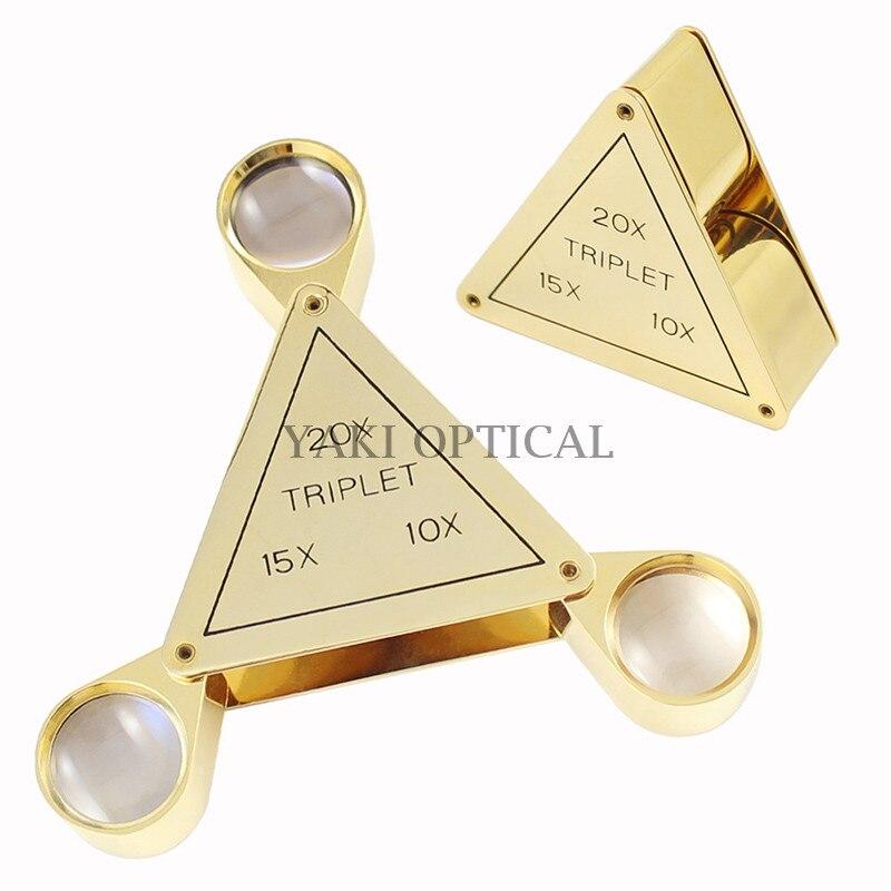 Triangular high-grade folding magnifying glass, three optical glass lens jewelry magnifying glass 10x/15x/20x  цены