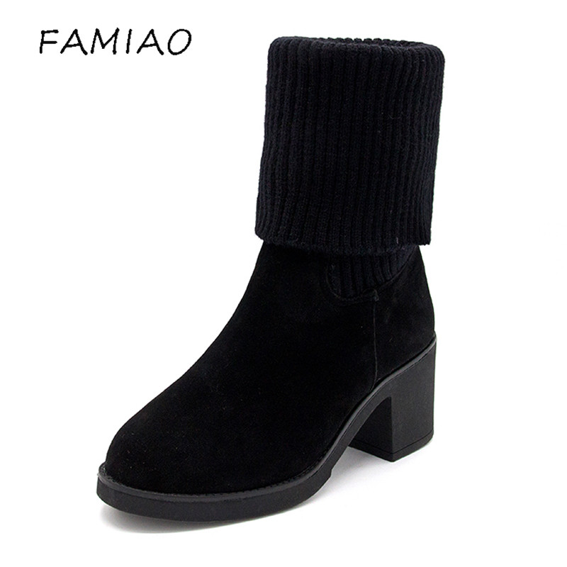 FAMIAO 2018 Fashion Knitted Women  High Boots Elastic Slim Autumn Winter Warm Long Thigh High Boots Woman Shoes Size fashion woman s striped beanies hat 2016 new autumn winter knitted warm wool casual girl cap for woman skullies chapeu feminino