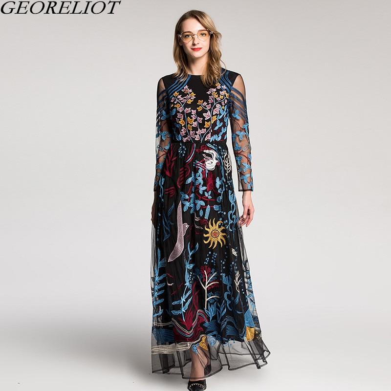 Brand Fashion Embroidery Runway Dress 2018 New Women Long Sleeve O-Neck Vintage Evening Party Maxi Dress Vestido De Festa