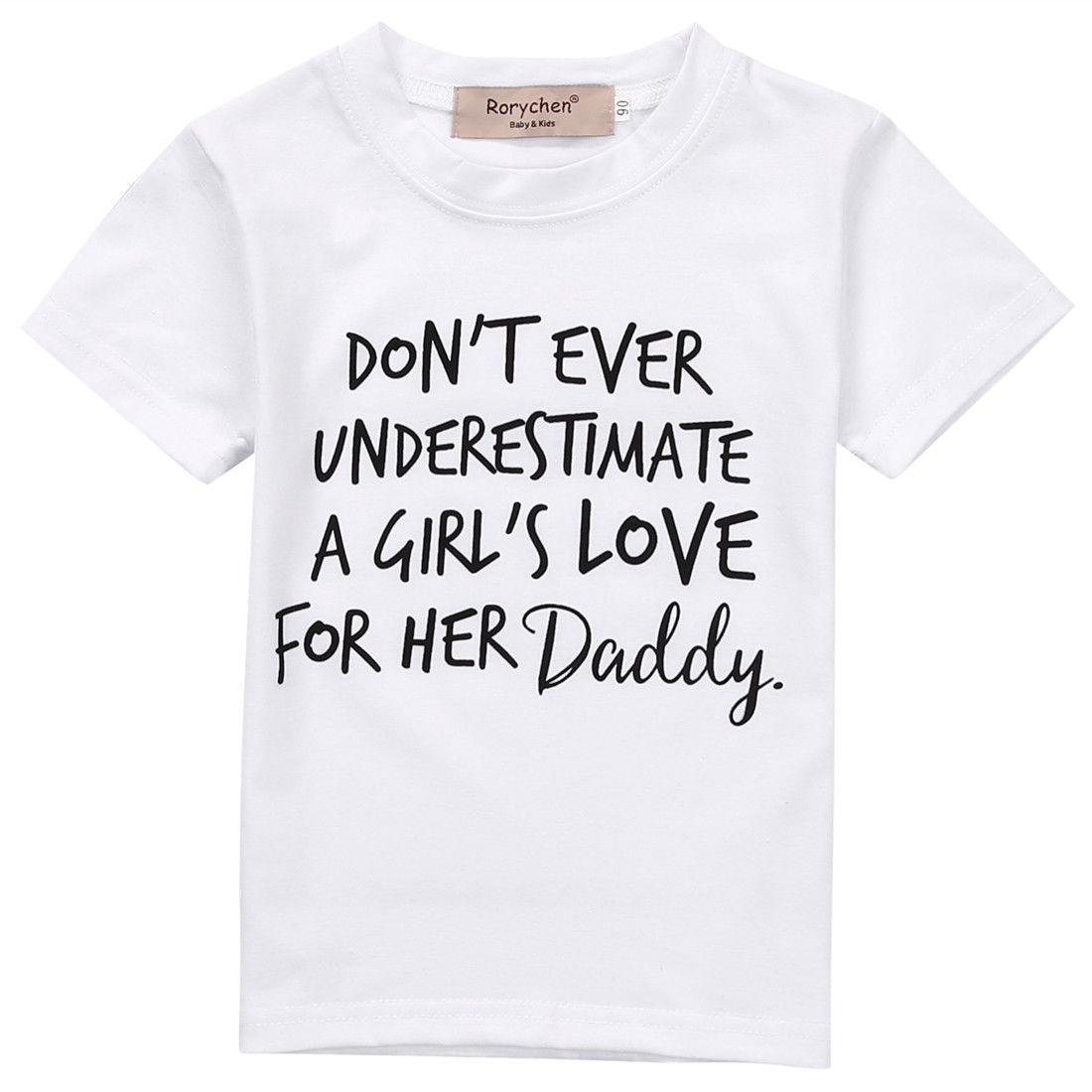 Children Clothes White T-shirt Kids Baby Boys Girls Daddy's Love Printed Tees Cotton Short Sleeve Boy Girl T-shirts Tops