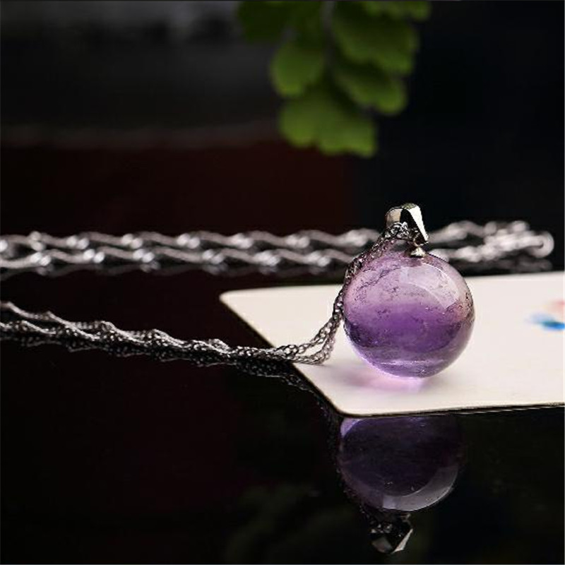 Piedras Naturales Amatista Bolas de Perlas Colgantes Cuerda Collar - Joyas - foto 4