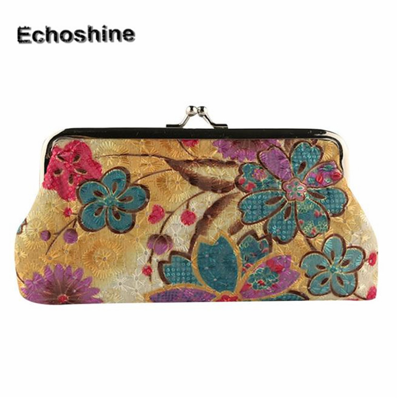 High qualitry and fashion Women Lady Retro Vintage Flower Small Wallet Hasp Purse Clutch Bag Money Bag A1000