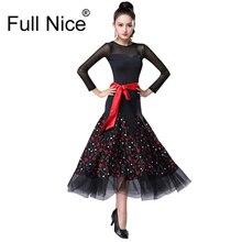 Цветочный узор с лентой бальное танцевальное платье фламенко Танго соревнования платья девушки/Женщины Современное платье для бальных танцев стандарт D