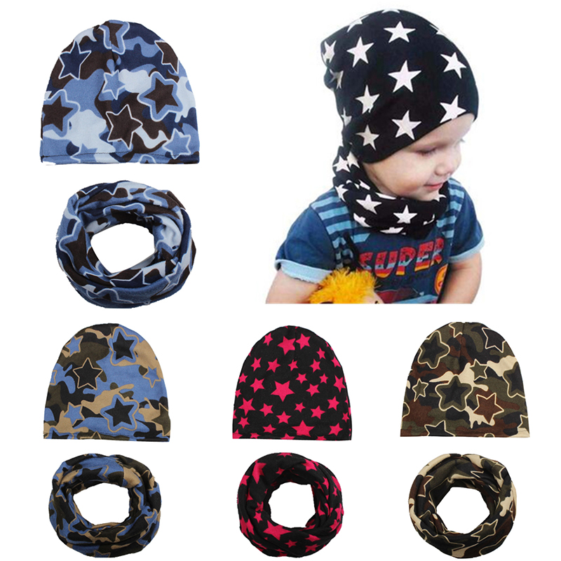 100% Brand New and High Quality Cap Baby Hats Newborn Hat Children Scarf Collar Kids 2 in 1 pieces Toddler