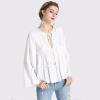 Spring Autumn Women White Chiffon Blouse Flare Sleeve O Neck Double Ruffles Bow Flower Female Casual