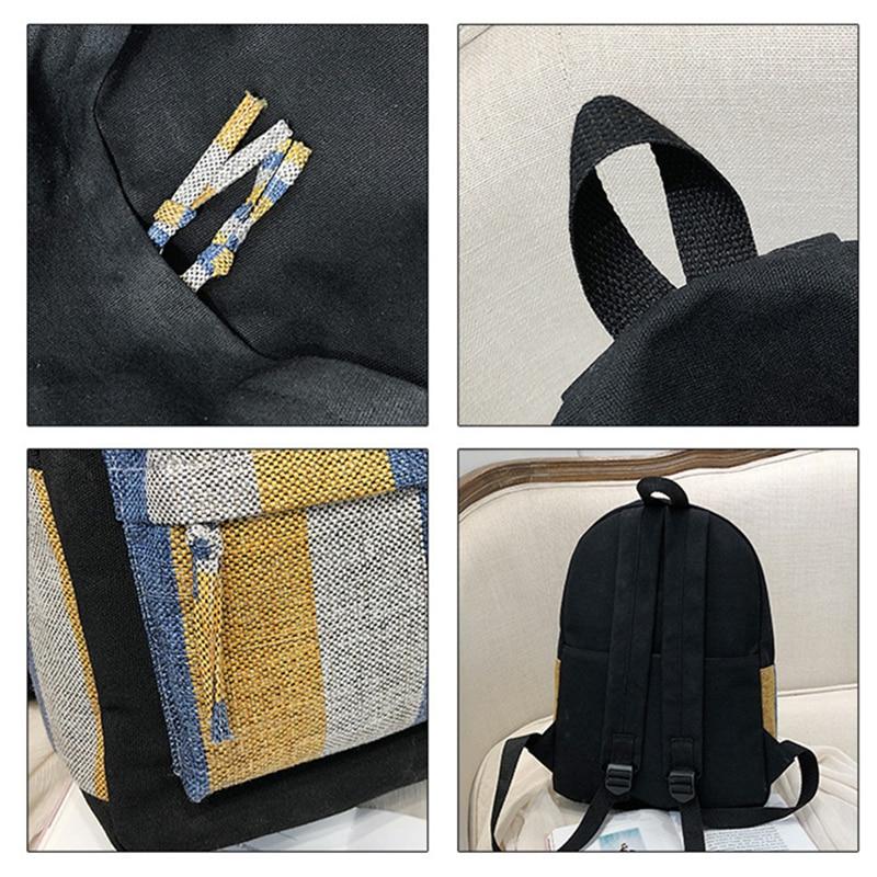 NEW ARRIVAL summer Backpack canvas Backpack for school stripe handbags for girls Letter zipper Backpack backpack travel zaino in Backpacks from Luggage Bags