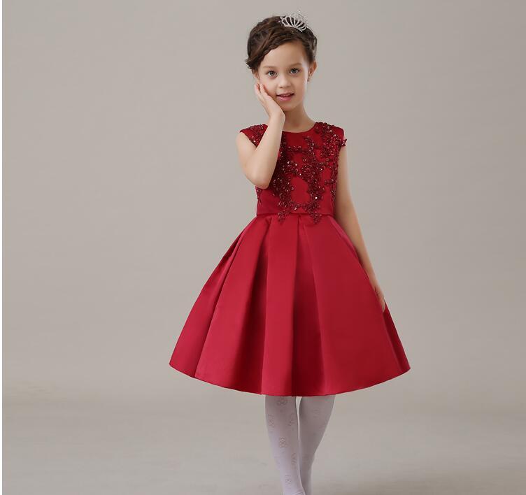 eaf356569da81 Robe de luxe d été en Tulle à paillettes rouge pour fille robe de fête  d anniversaire pour bébé fille robe de bal de mariage en Organza perlée  vêtements de ...