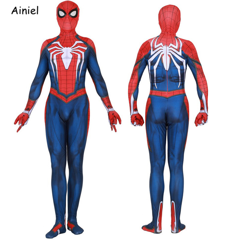 Games Ps4 Insomniac Spiderman Advanced Suit Costume Kids Adult Zentai Bodysuit Halloween Party Spider-man Cosplay Costume Mask