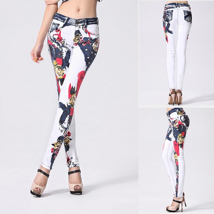 Aliexpress.com : Buy 2015 Fashion Slim Printed White Denim Jeans ...
