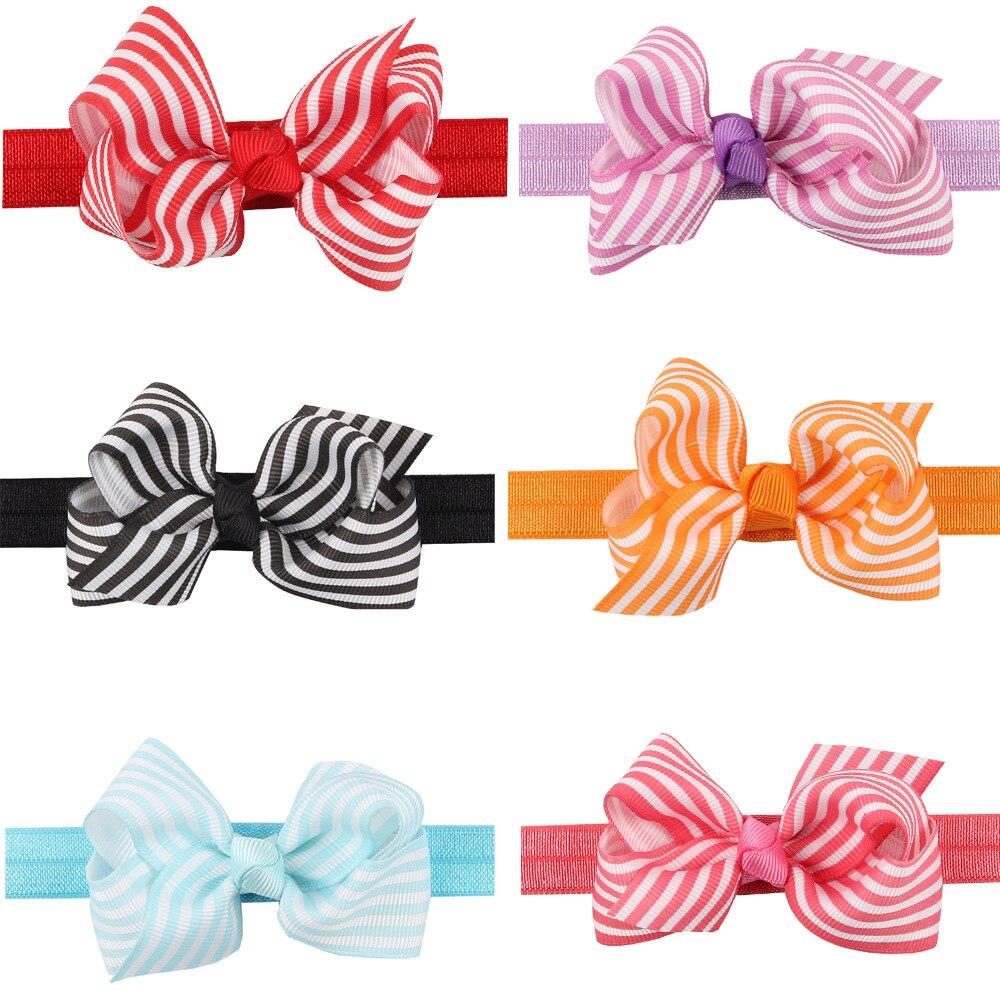 1 Piece MAYA STEPAN Striped Bow Hair Head Band Handmade Flower Children Girls Baby Newborn Hair Rope Headband Headwear Headwrap