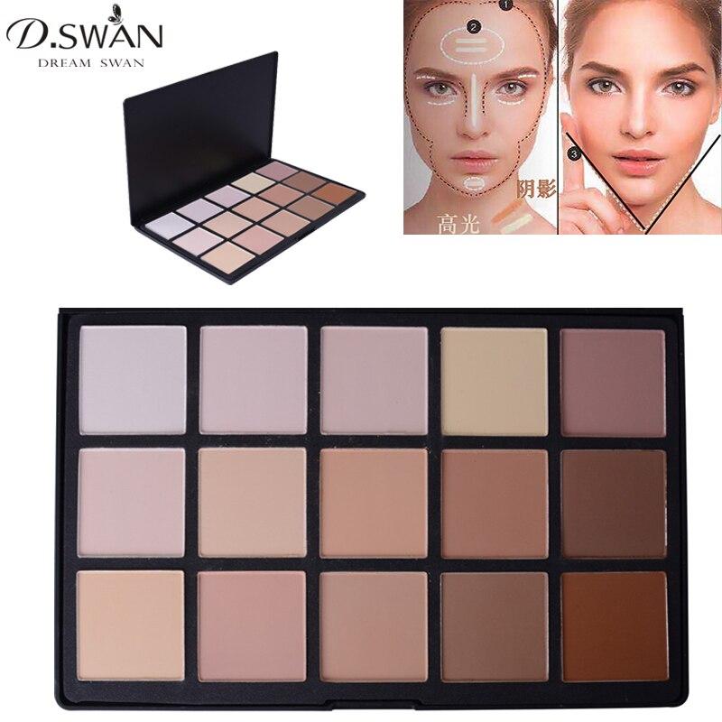 15 Color Face Contour Makeup Palette Matte Bronzer Powder Foundation Concealer Camouflage Highlight and Contour V Shape цены онлайн