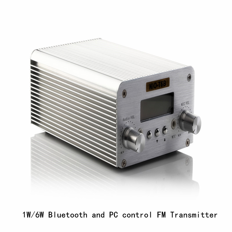 Free Shipping Wireless Bluetooth NIO-T6B 1W/6W Radio FM 6w Power Transmitter free shipping nio t6a 1w 6w rf power radio fm broadcast equipment 76mhz to 108mhz adjustable