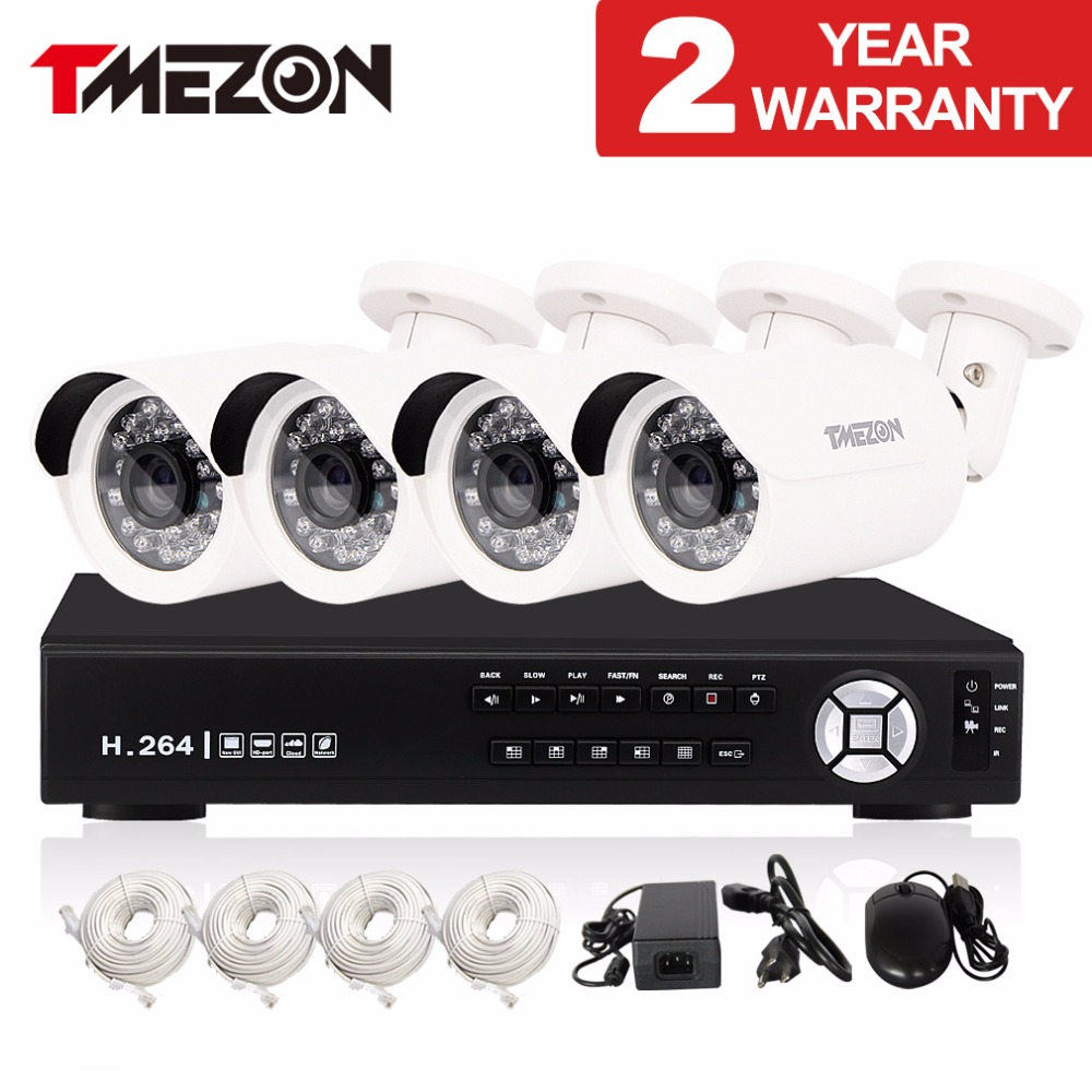 Tmezon IP POE 4CH NVR Security Surveillance System 4*720P 1.0MP Bullet Camera Network IR CUT Night Vision ONVIF P2P 1TB 2TB Set