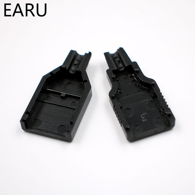 DIY  Type A Male USB 4 Pin Plug Socket Connector With Black Plastic Cover Adapter Connect USB 2.0 PCB SDA Data Cable Line