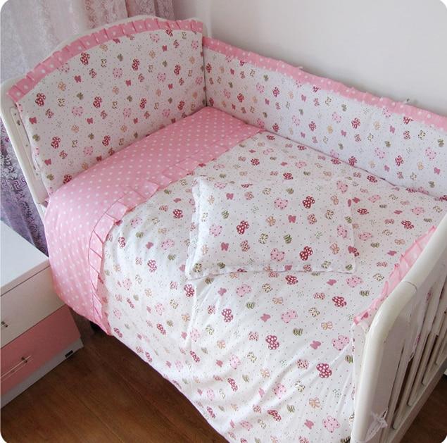Promotion! 9PCS whole set crib bedding kit crib 100% cotton baby bedding set of unpick and wash ,120*60/120*70cm