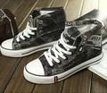 Новый 2016 Мужская Мода Холст Обувь Высокий Верх Повседневная Denim Холст Обувь, босоножки, Мужчины Квартиры Обувь A2880