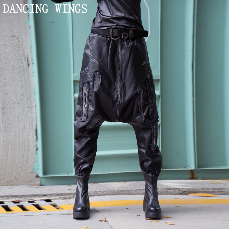 European Style Hip-hop Pants High Quality Women's PU Leather Harem Pants Spring Loose Large Size Hanging Crotch Pants