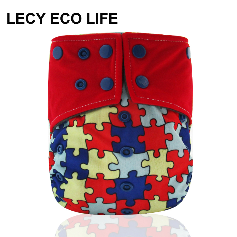 LECY ECO LIFE all in one washable diaper with bamboo charcoal inner, color snap one size baby nappies with double pockets gusset