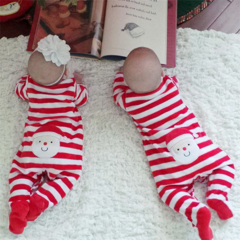 New 2017 Christmas Newborn Infant Kids Baby Boys Girls Cotton Striped Long Sleeve   Romper   Stanta Claus Jumpsuit Clothes Outfit