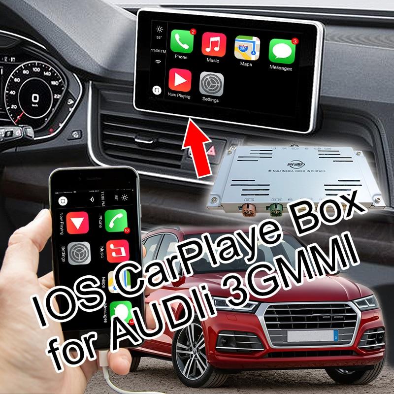 Plug & Play IOS CarPlaye Box for 2013-2018 AUDI A8 A6 Q7 3GMMI with Waze Siri Command Mirrorlink Mutually Control etc.