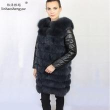 Linhaoshengyue 2017 HOT Selling 100% fox fur women coat with Leather sleeves warm fashion Detachable sleeves