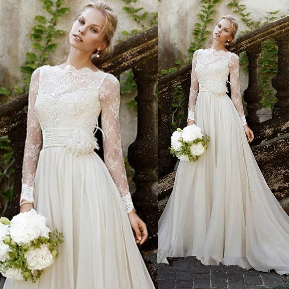 Vintage Style Lace Wedding Dresses: Long Sleeve Lace Wedding Dresses Elegant Elegant Long