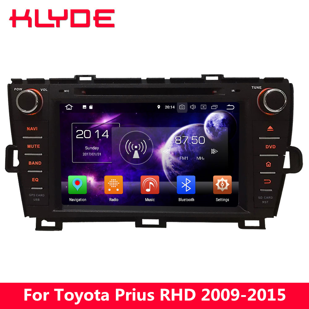 KLYDE 4G Octa Core 4GB RAM 32GB ROM Android 8.0 7.1 6 <font><b>Car</b></font> DVD Player Stereo Radio For <font><b>Toyota</b></font> Prius Right Hand <font><b>Driving</b></font> 2009-2015 image