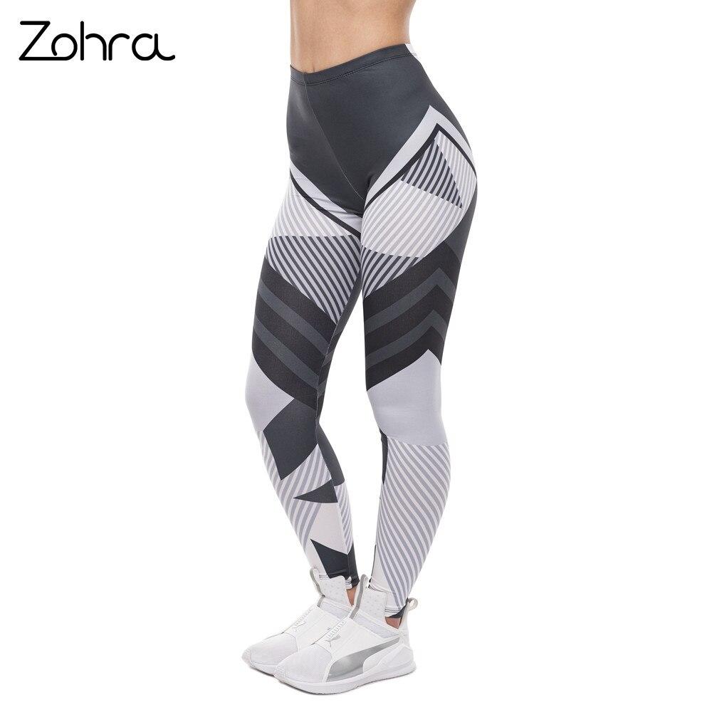 Zohra High Quality Women   Legging   Dark Gray Stripes Printing Fitness   Leggings   Fashion High Waist Woman Pants