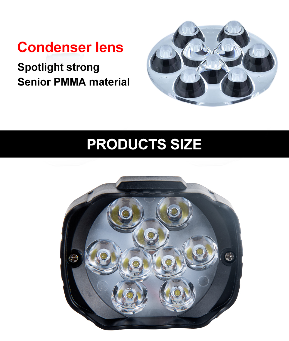 LED Work Lights Auxiliary Lights Headlights 9 Chip 9W Super Bright Canbus  for Chevrolet motorcycle truck Off-road vehicle Moped