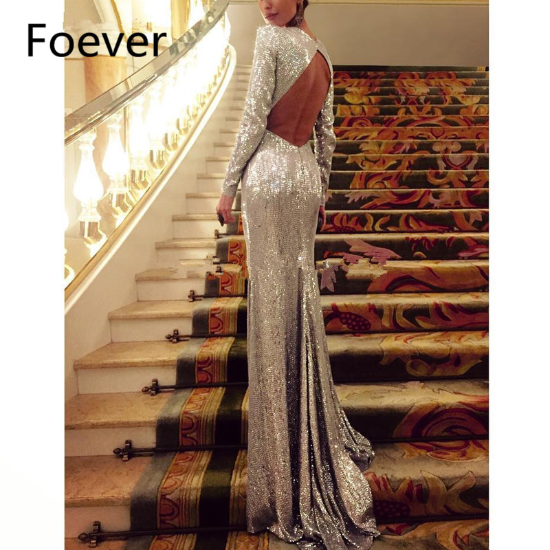 Women Elegant Silver Sequin Gown Formal Dress Sexy Open Back Long Sleeves Mermaid Evening Dresses Long 2019