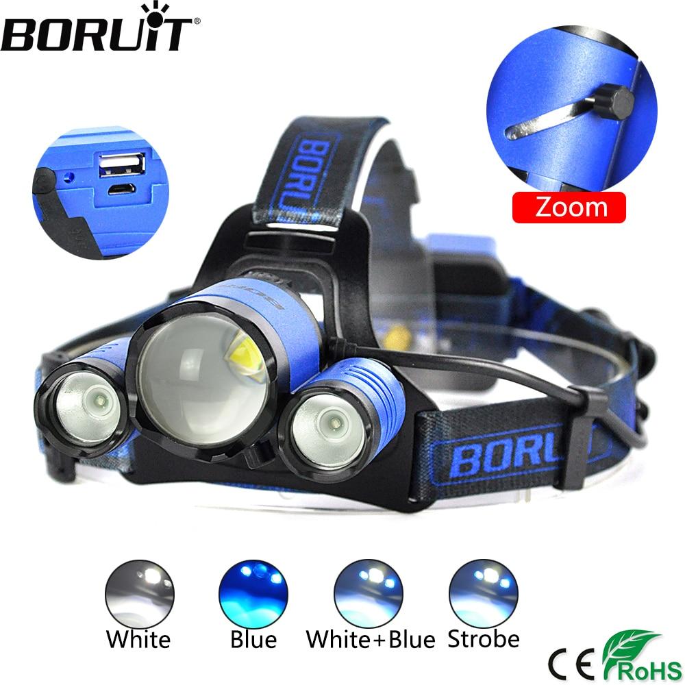 BORUiT B22 XML2 Proiettori A LED XPE LED Blu Pesca Lanterna 4-Modalità Zoomable Del Faro Testa del Caricatore USB Torcia Accumulatori e caricabatterie di riserva torcia elettrica