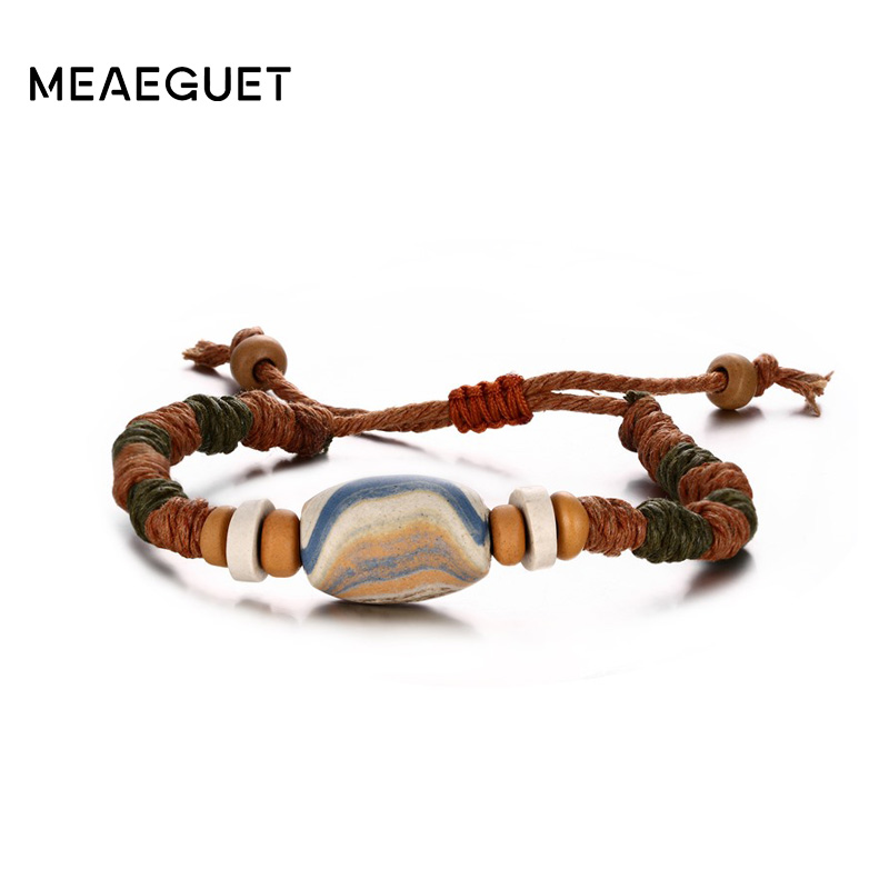 Meaeguet Adjustable Length Street Style Stone Charm Bangle for Men Women Leather Bracelet Braided Rope Chain Casual Jewelry