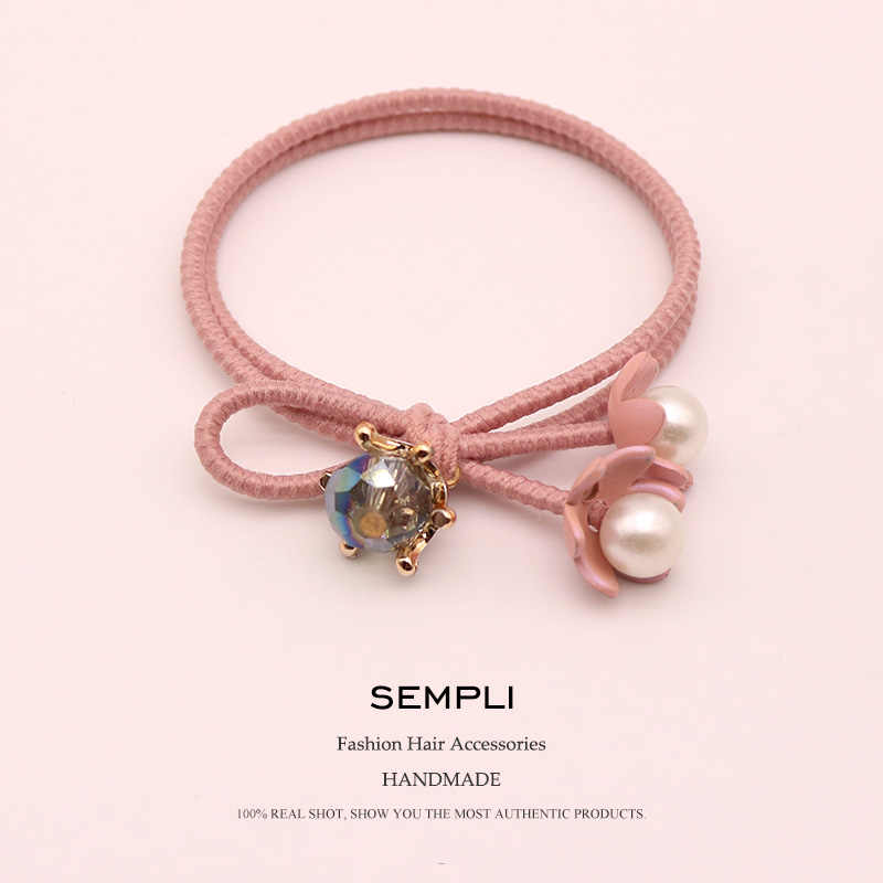 Sempli Crystal Nylon Rubber High Elastic Hair Bands For Women Kid's Pearl Flower Hair Bands for Women's Turban Hair Accessories