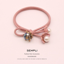 Sempli Crystal Nylon Rubber High Elastic Hair Bands For Women Kids Pearl Flower for Womens Turban Accessories