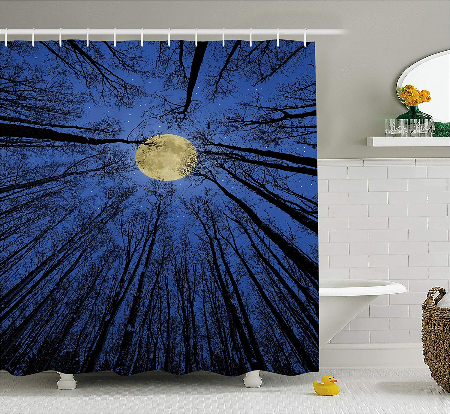 Forest Home Decor Shower Curtain Full Moon In Woods Star Night Heavenly Lunar Treetops Up Space Art Fabric Bathroom Decor Bathroom Products