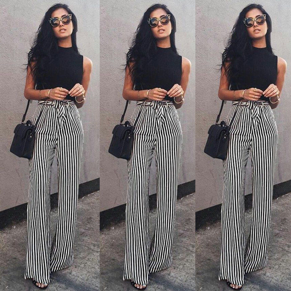 Fashion Women OL Striped   Wide     Leg     Pants   Casual Long Drawstring   Pants   Summer Loose Work Trousers