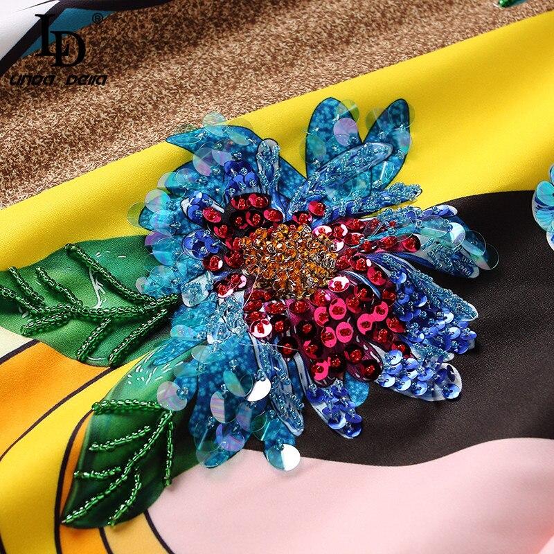 LD LINDA DELLA Piste Designer Robe D'été Femmes de Demi De Douille de Luxe Sequin Animaux Imprimer Casual Lâche Élégante Robe Robes - 5